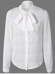 Plaid Chiffon Blouse with Bow Tie Collar - WHITE 2XL