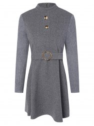 Stand Neck Wool Blend A Line Dress