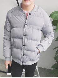 Button Up Stand Collar Applique Puffer Jacket -