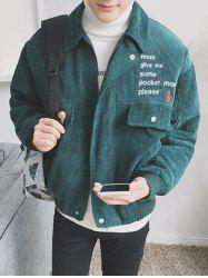 Zip Up Embroidery Corduroy Jacket