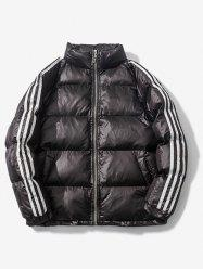 Stand Collar Striped Raglan Sleeve Quilted Jacket -