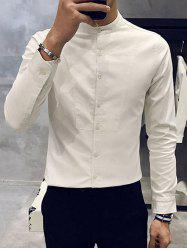 Slim Fit Mandarin Collar Long Sleeve Shirt