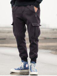 Drawstring Waist Flap Pocket Jogger Pants