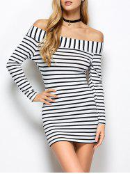 Striped Off The Shoulder Long Sleeve Bodycon Dress -