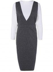 Bodycon Pinafore Dress with Ribbed Knitwear