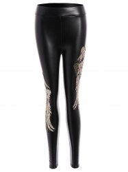 Sequins Wing Beam Feet Faux Leather Leggings