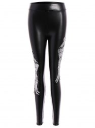 Sequins Wing Beam Feet Faux Leather Leggings -
