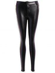 Beam Feet Button Faux Leather Leggings