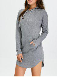 Hooded Long Sleeve Sweatshirt Mini Dress with Pocket - GRAY