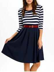 A Line Stripe Casual Dress Fall - PURPLISH BLUE