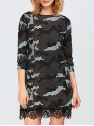 Camo Lace Trim T-Shirt Dress