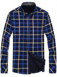 Angle Cut Cuff Flocking Checked Shirt