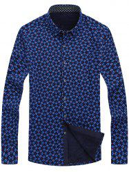 Button Front Flocking Printed Shirt -