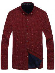 Long Sleeve Dotted Flocking Button Dwon Shirt - RED 4XL