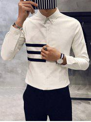 Long Sleeve Striped Flocking Button Down Shirt -