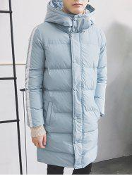 Striped Sleeve Zip Up Hooded Padded Coat - LIGHT BLUE
