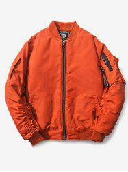 Ruched Multi Pocket Zip Up Bomber Jacket -