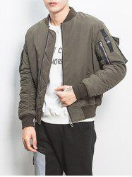 Ruched Multi Pocket Zip Up Bomber Jacket