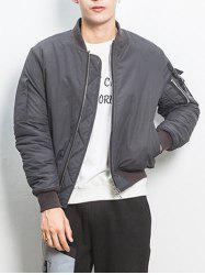 Ruched Multi Pocket Zip Up Bomber Jacket - GRAY