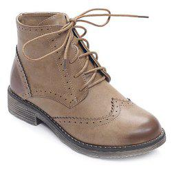 PU Leather Lace Up Engraving Short Boots -