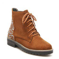 Lace Up Suede Embroidered Combat Boots -