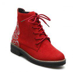 Lace Up Suede Embroidered Combat Boots