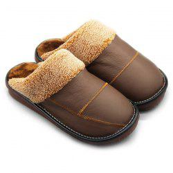 PU Leather Color Block Stitching House Slippers -