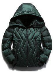 Zippered Hooded Zigzag Stitch Padded Jacket -