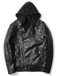 Pocket Asymmetrical Zip Up Hooded PU Leather Jacket -