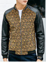 Paisley Print Zippered PU Leather Insert Jacket -
