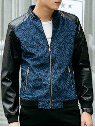Paisley Print Zippered PU Leather Insert Jacket