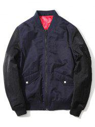 Pocket Stand Collar Zip Up Two Tone Jacket -