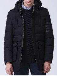 Pocket Zippered Snap Front Hooded Padded Coat