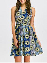 Open Back Pleated Cocktail Dress - MULTI XL