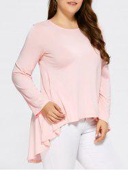 High Low Ruffled Plus Size T-Shirt - SHALLOW PINK 5XL