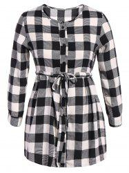Plaid Button Up Long Sleeve Dress
