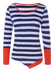 Contrast Striped Tee - RED XL