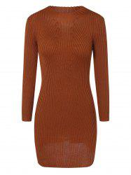 Ribbed Bodycon Mini Jumper Dress - LIGHT BROWN