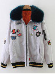 Fur Collar Patch Design Padded Bomber Jacket -