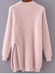 Long Mock Neck Slit Fuzzy Pullover Sweater - PINK ONE SIZE