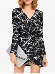 Geometric Print V Neck Bodycon Dress