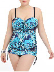 Plus Size Leopard Print Hollow Out One Piece Swimwear -