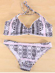 Halter Tribal Print Ruched Bikini Set