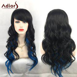 Adiors Long Colormix Oblique Bang Wavy Christmas Party Synthetic Wig - GRADUAL BLUE