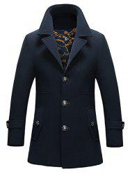 Pocket Button Tab Cuff Single Breasted Coat - DEEP BLUE