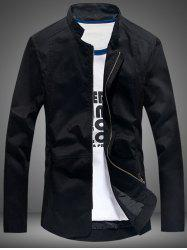 Stand Collar Pocket Zip Up Jacket - BLACK
