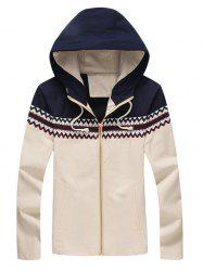 Zigzag Pattern Panel Hooded Zip Up Jacket