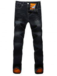 Scratched Pocket Flocking Dark Wash Jeans