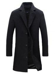 Plus Size Lapel Longline Single Breasted Woolen Blends Coat -