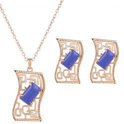 Artificial Gem Geometric Necklace and Earrings